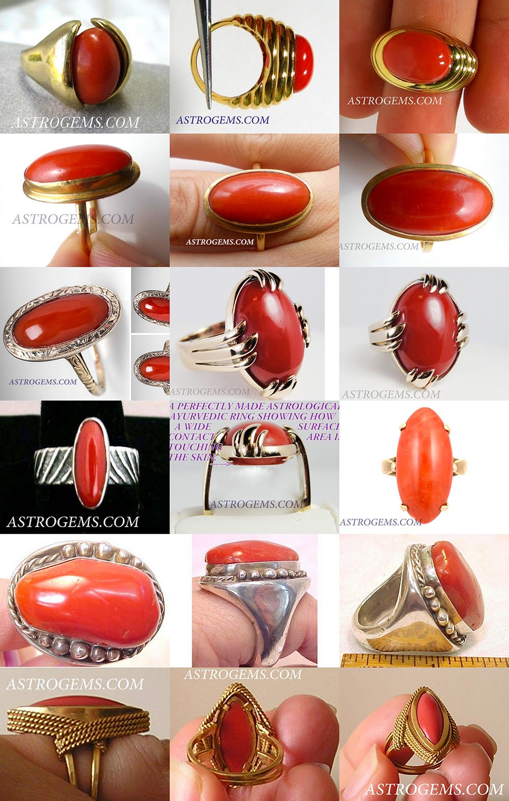 red coral astrological rings
