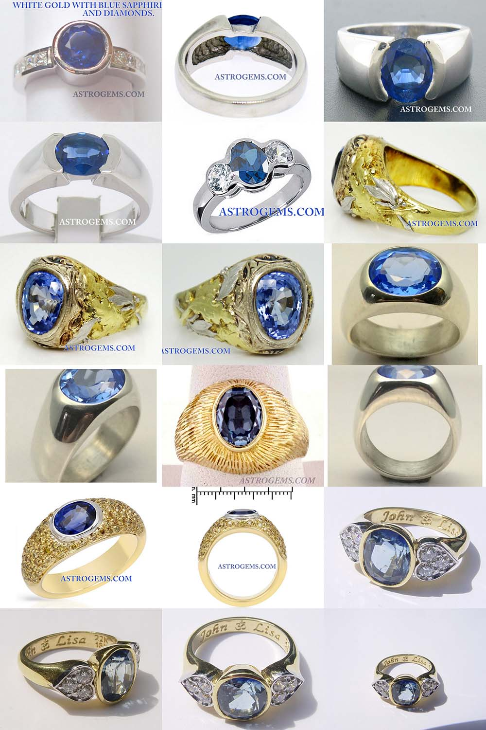 Astrogems makes many kinds of astrological blue sapphire rings and can create custom designs as well.