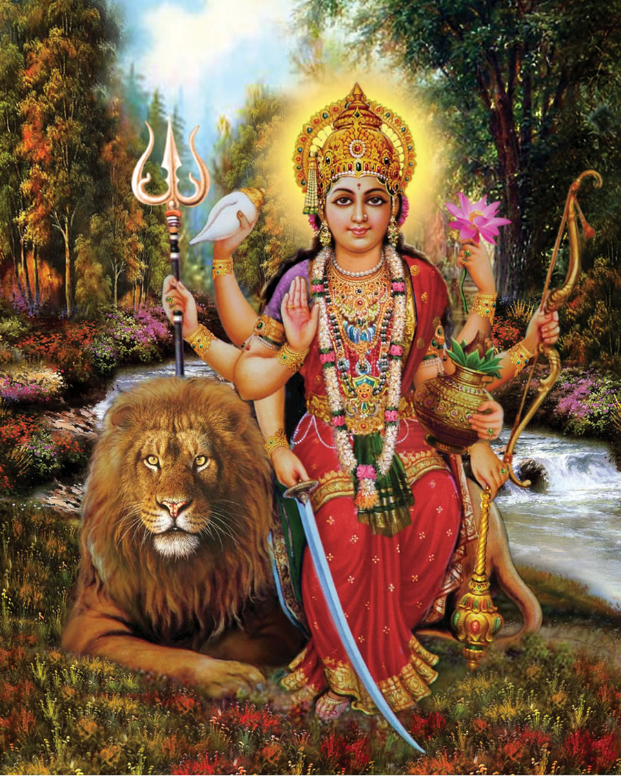 saraswati with lion