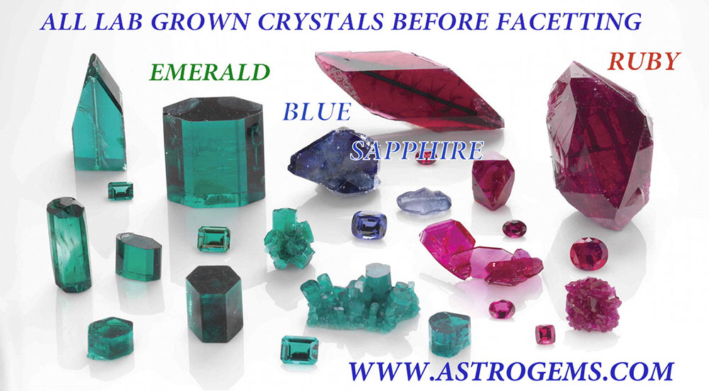 Samples of laboratory grown emerald, blue sapphire and ruby.