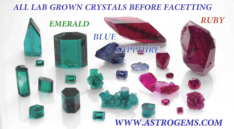 Examples of laboratory grown emerald, ruby and blue sapphire crystals.