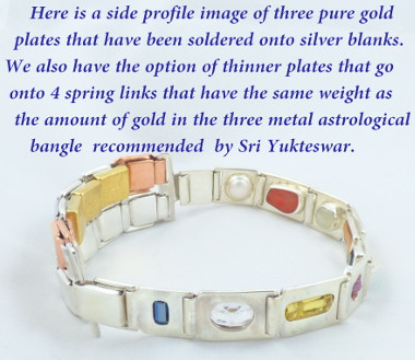 Navaratna with gold plates in the same weight as in the astrological three metal bangle recommended by Swami Sri Yukteswar