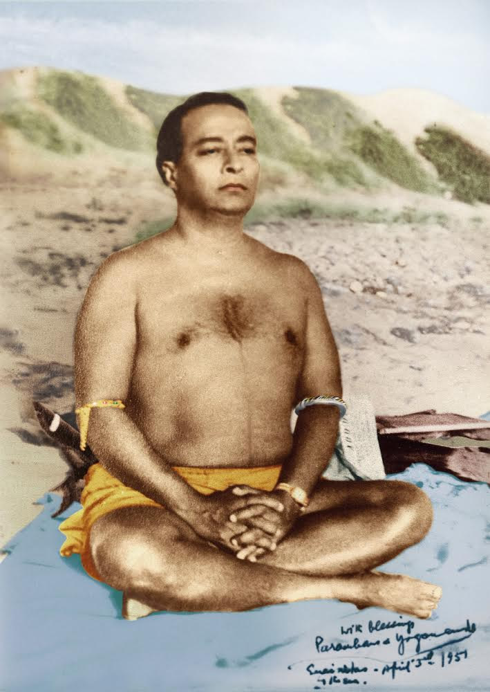 Paramahansa Yogananda Meditating Wearing Astrological Bangles