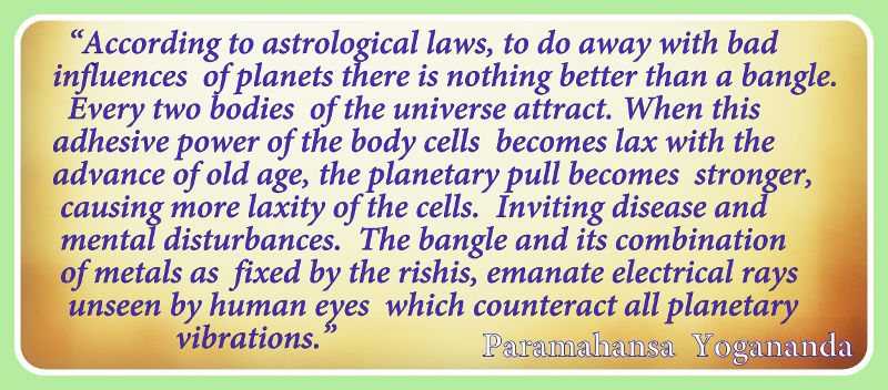 Paramahansa Yogananda quote on the benefits of a planetary gem bangle.