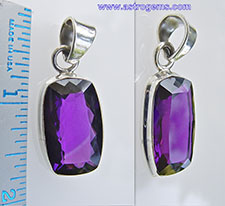 Rectangular Amethyst pendant for Saturn in silver