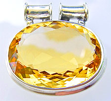 Very large oval citrine pendant in silver