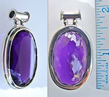 Oval Amethyst pendant for Saturn in silver