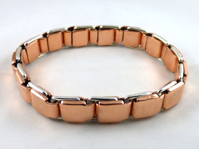 pure copper with a hint of silver, two tone spring link bracelet