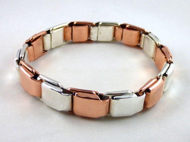 pure silver pure copper spring link bracelet