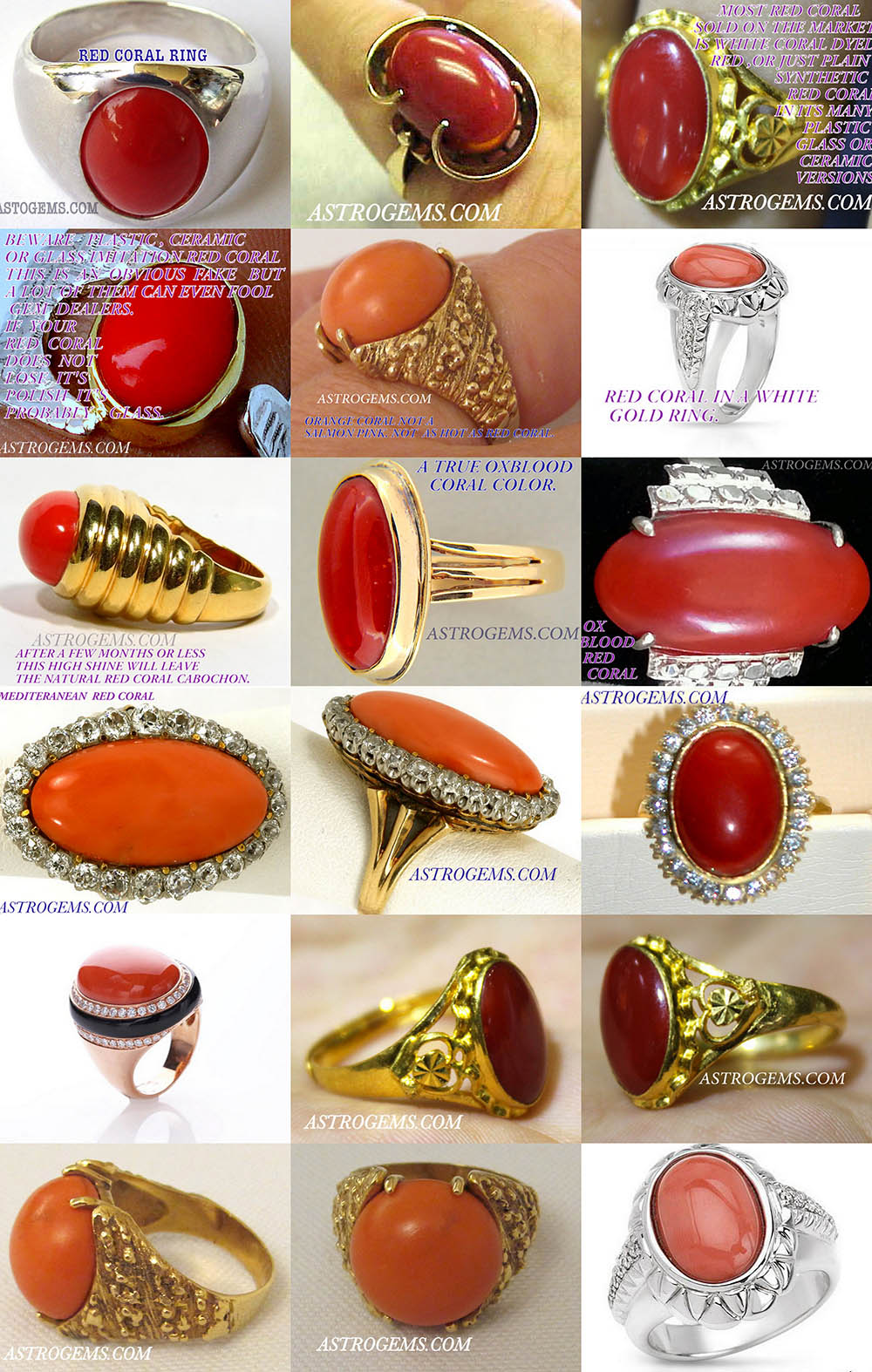 red coral ayurvedic astrological rings