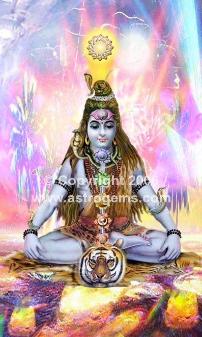 shiva meditating with chakras