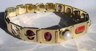 gold crystal healing nine gem bangle