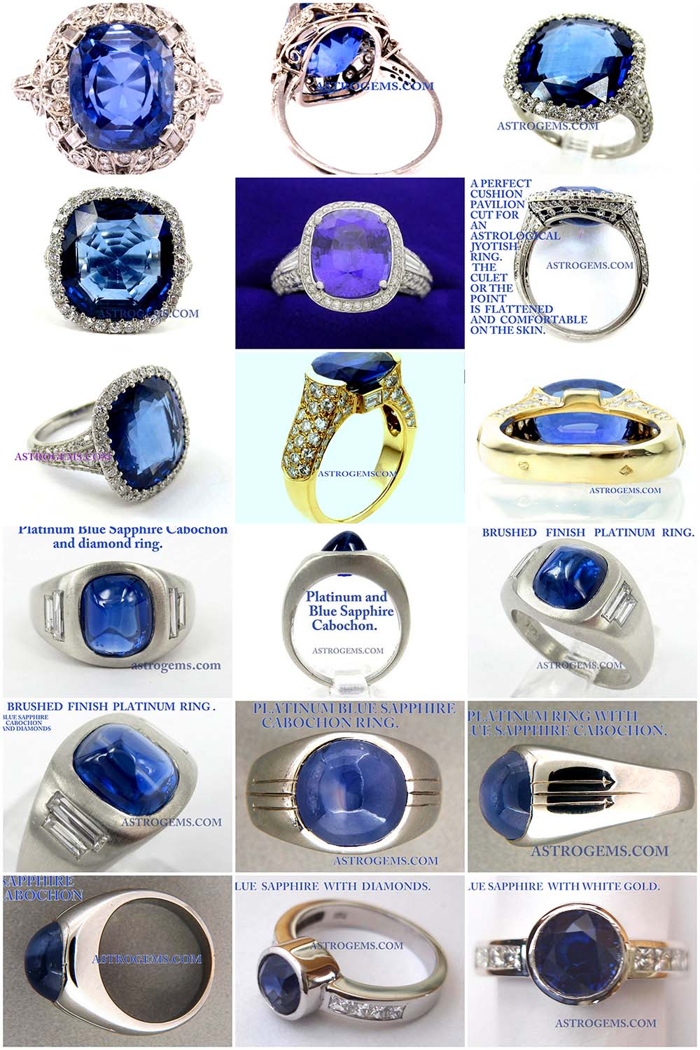 Astrogems makes a wide variety of blue sapphire rings. We can also create custom designs.