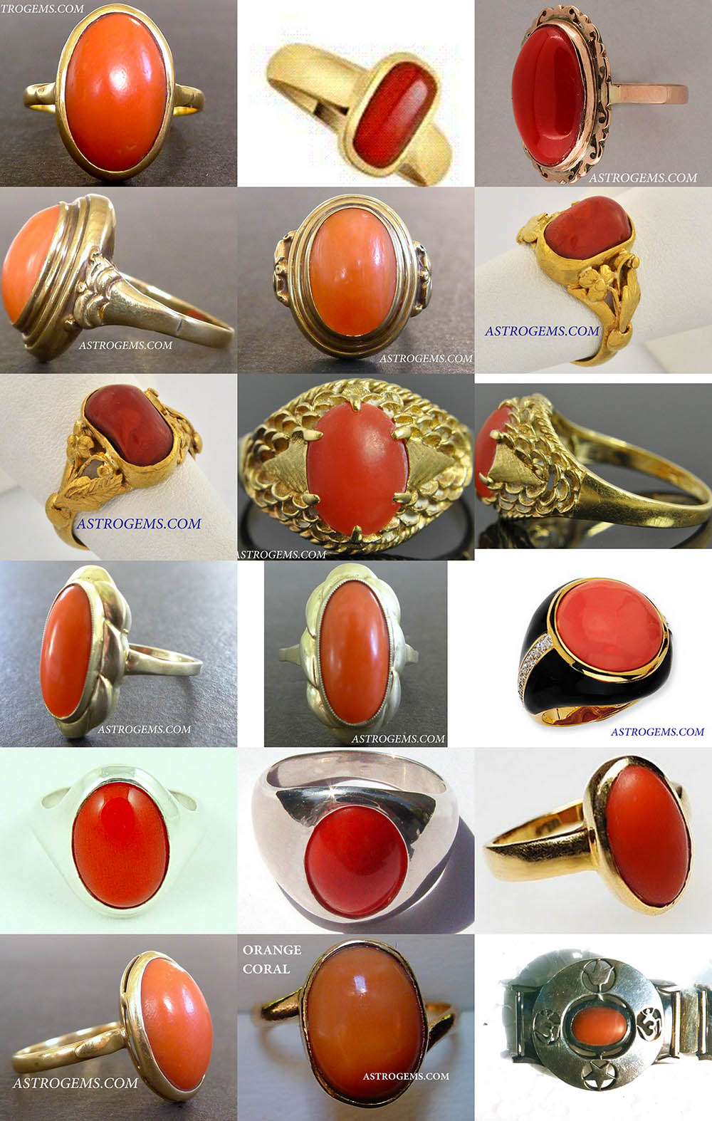 vedic red coral astrological rings