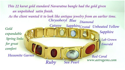 Golden standard astrological gem bangle picture