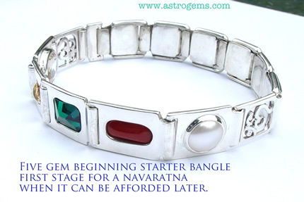 Five gem beginning starter bangle