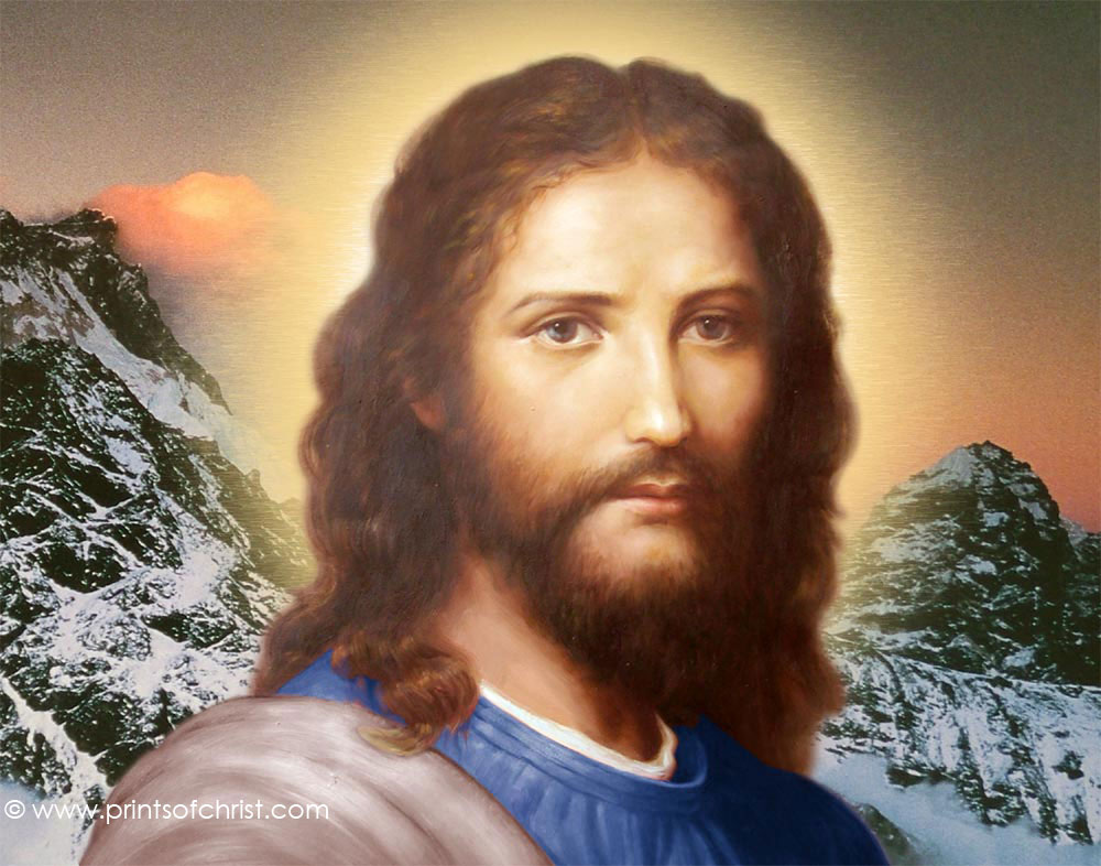 Jesus snowy mountain background